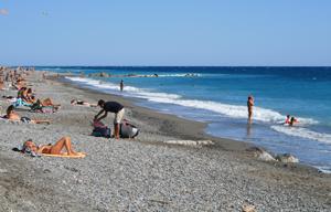 Spiaggia a Vallecrosia, Liguria.